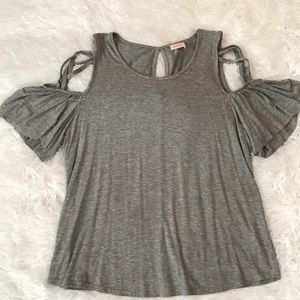 Tops - Cold shoulder top with lace up detail